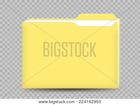 Yellow folder correspondence template and paper document inside with shadow on transparent background