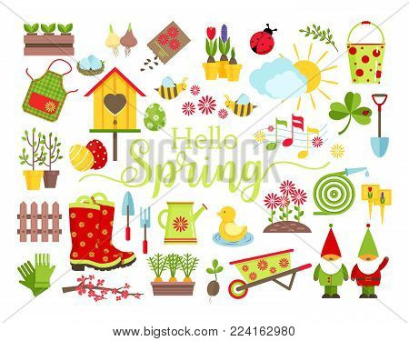 Spring and gardening tools icons set. Planting, growing, caring for garden and decoration elements isolated on white background. Cartoon flat style vector illustration