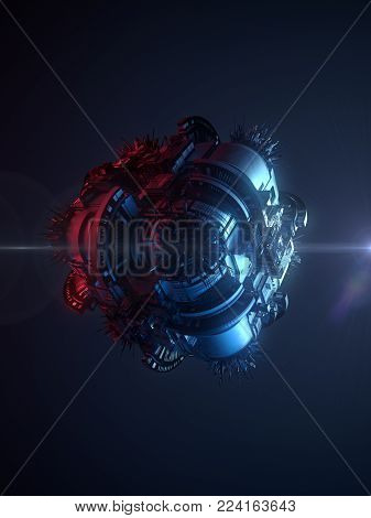 Hi-tech futuristic techno background. Abstract geometric shape illuminated by colored lights. 3d rendering