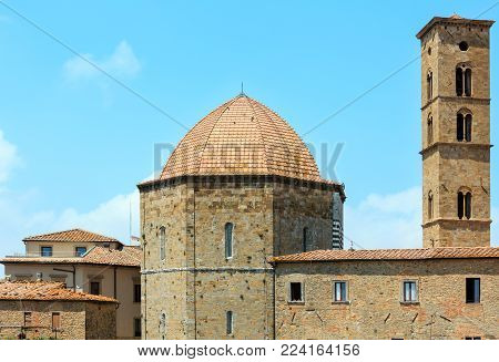 Summer ancient walled mountaintop town Volterra, Pisa province, Tuscany, Italy.