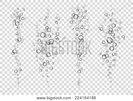 Underwater Fizzing Air Bubbles On Transparent  Background.