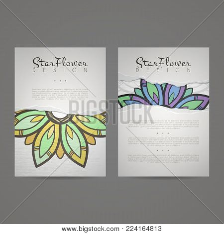 Set of vector design templates. Business card with floral circle ornament. Mandala style. Torn paper