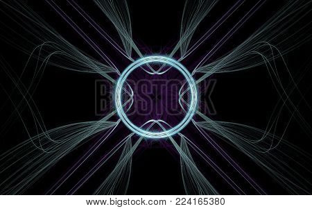 background image abstract symbol in the form of a lilac flower in the center with a luminous ring around and diverging lines on a black background.