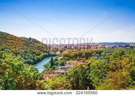 Aerial view of Besancon landscape with the Doubs River in summer