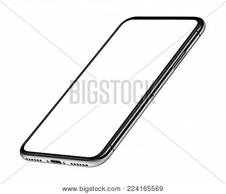 Perspective smartphone like iPhone X mockup. Perspective smartphone mockup front side CCW rotated isolated on white background. 3D illustration.