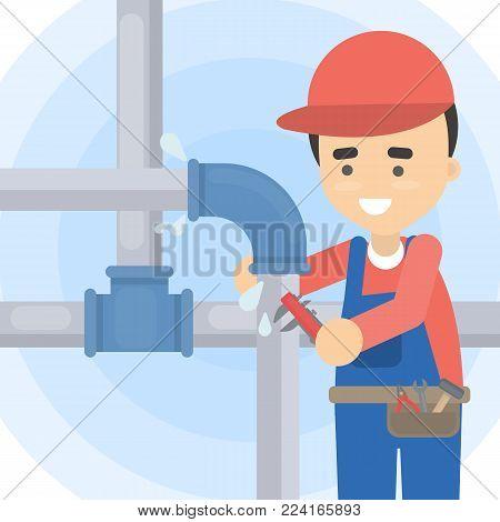 Repair of pipes. Plumber with tools repairing.