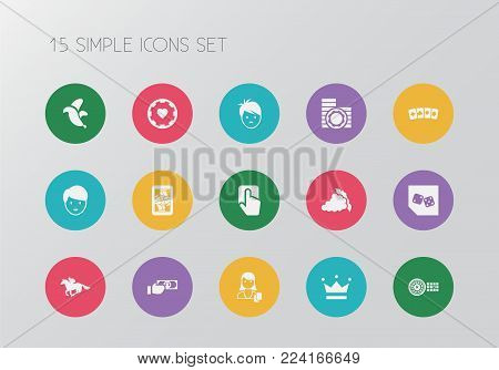 Set of 15 editable game icons. Includes symbols such as pressing button, banana, backgammon and more. Can be used for web, mobile, UI and infographic design.
