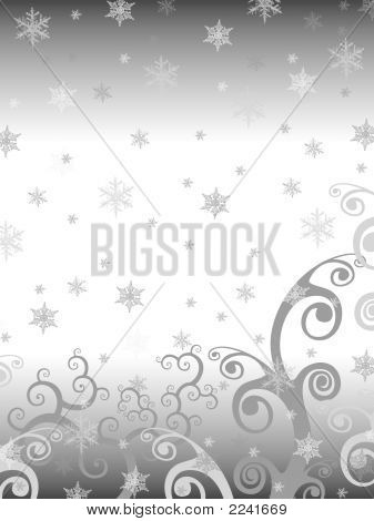 The drawn background for christmas and New Year's congratulations. Grey color snowflakes and curls. poster