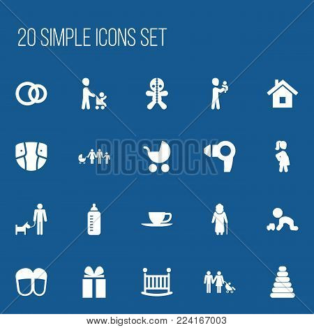 Set of 20 editable relatives icons. Includes symbols such as grandson, tower, perambulator. Can be used for web, mobile, UI and infographic design.