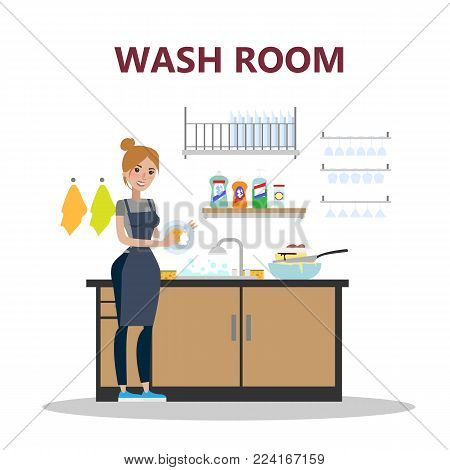Woman at wash room washing the dishes.