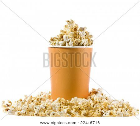 pop corn in caramel syrup in the paper box isolated on white background