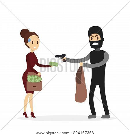 Stealing money from woman. Man in mask with gun.
