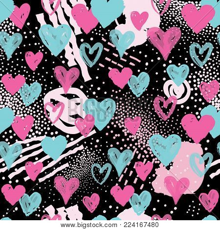 Love heart seamless pattern. Abstract stylish background with hearts in 1990s style. Holiday ornamental wallpaper.