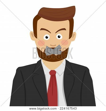 Serious businessman with scotch-tape on his mouth on white