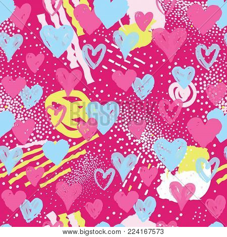Love Heart Seamless Pattern. Abstract Stylish Background With Hearts In 1990s Style. Holiday Ornamen