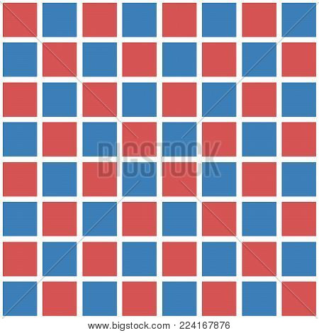 Abstract seamless pattern with squares. Geometric vector illustration. Red and blue colors.Gingham.