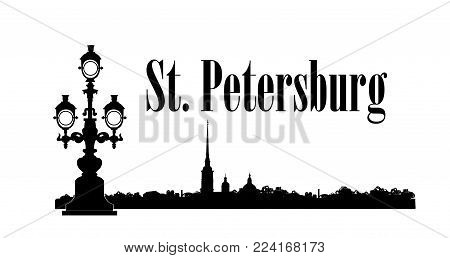 Saint-Petersburg city, Russia. Saint Peter and Paul Cathedral and Fortress building skyline, Neva river view. Russian travel background.