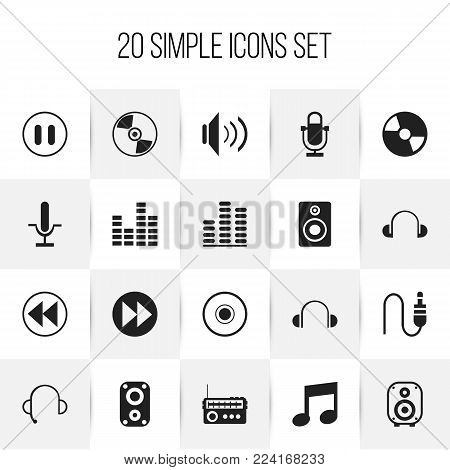 Set of 20 editable mp3 icons. Includes symbols such as sound amplifier, stop, audio bass and more. Can be used for web, mobile, UI and infographic design.