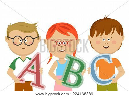 Group of little kids holding ABC letters on white