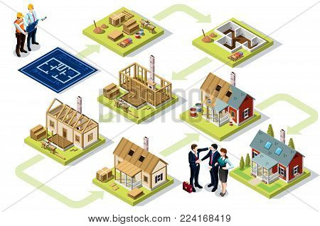 Wood construction buildings and wall structures. Industrial materials at contruction stage. 3D vector Illustration.