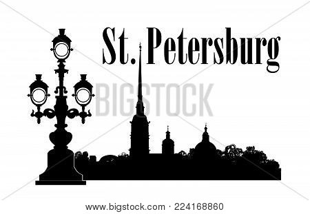 Saint-Petersburg city, Russia. St. Isaac's cathedral skyline with Admiralty building, bridge, Neva river view. Russian travel background.