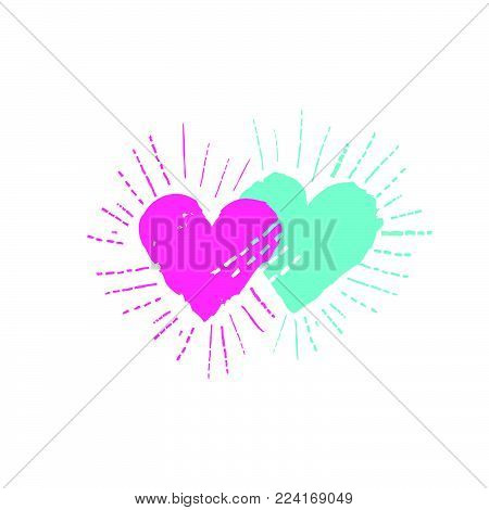 Two hearts with shining ray beams. Love sign. Valentine's day greeting card in 1990s style with love hearts
