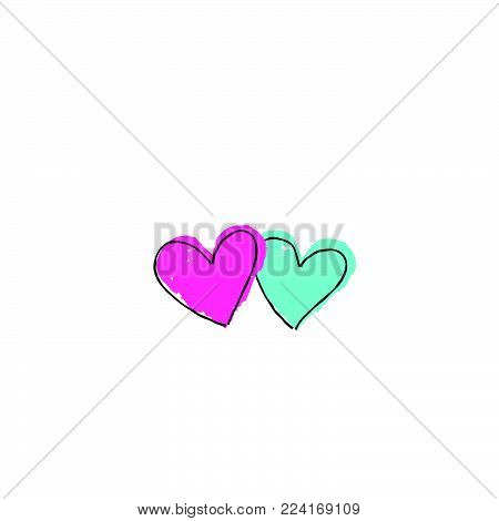 Two hearts with arrow. Love sign. Valentine's day greeting card in 1990s style with love hearts  striked by arrowhead