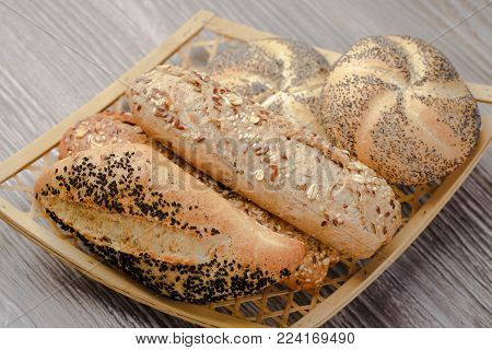 Assorted Buns,bread rolls,rolls of bran,seedcake,caraway,rolls with seeds