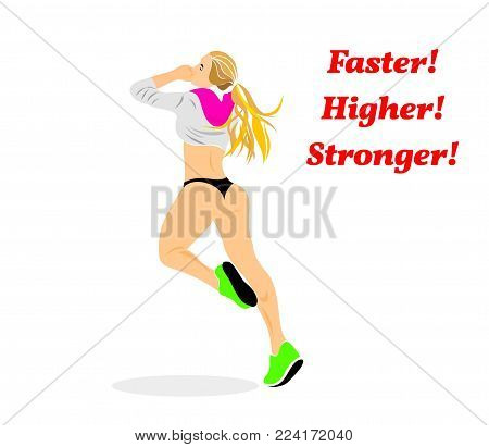 slogan faster higher stronger girl athlete silhouette figure life style competition running healthy lifestyle fitness passion desire