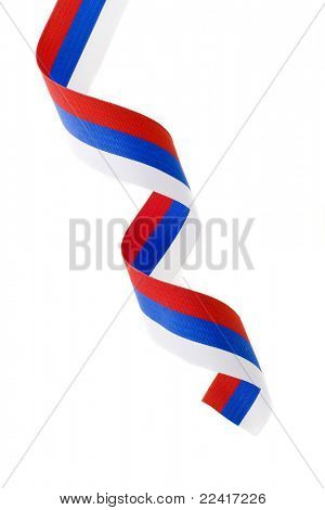 curl of Russian flag  isolated on white background