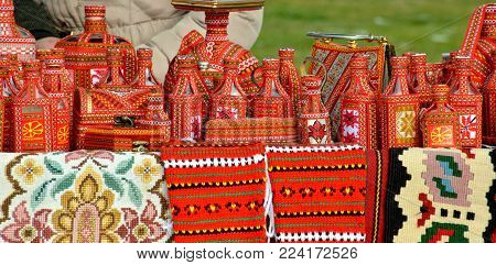 Street Selling Of A Handmade Souvenirs With Traditional Macedonian Colors In Ohrid,macedonia,image