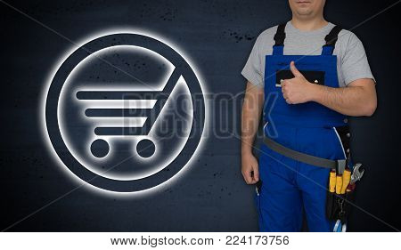 Shopping cart icon and craftsman with thumbs up.