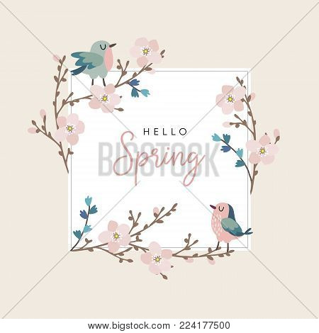 Hello spring greeting card, invitation with cute hand drawn birds and cherry tree branches with pink blossoms, Easter concept. Vector illustration background.
