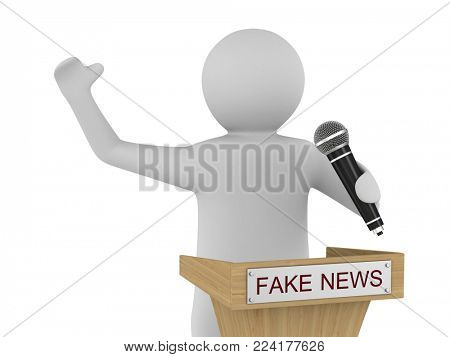 Fake news. man speaks with microphone on white background. Isolated 3D illustration