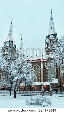 Beautiful illuminated early morning winter Church of Sts. Olha and Elizabeth in Lviv, Ukraine. Built in the years 1903-1911.
