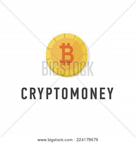 Golden coin with bitcoin sign flat. Web money symbol. Cryptomoney logo isolated. Cryptography currency symbol on white background vector Illustration.