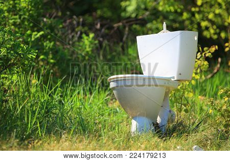 Ecology. Old toilet bowl lying discarded on the nature in forest. Rubbish garbage polluting environment.
