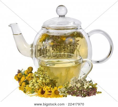 herbal tea and fresh herb isolated on white background poster