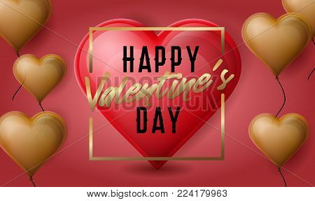 Happy Valentine's Day banner or poster. Romantic flayer with golden balloons in the heart shape or form. Greeting card.