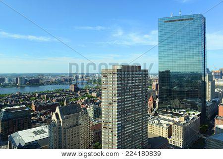 Boston Back Bay Skyline in summer, Boston, Massachusetts, USA.