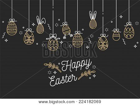 Easter eggs composition. Golden linear icons on white background. Hanging Easter ornamental eggs. Happy Easter greeting card