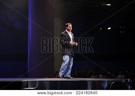 SAN FRANCISCO, CA, USA - NOV 14, 2007: CEO of Dell Technologies company Michael Dell makes his speech at Oracle OpenWorld conference in Moscone center on Nov 14, 2007.