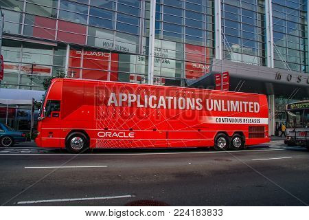 SAN FRANCISCO, CA, USA - NOV 13, 2007: Bus for attendees of Oracle OpenWorld conference transportation at downtown street in San Francisco on November 13, 2007.
