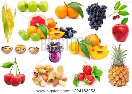 Collection fruits and vegetables for project isolated on white background.