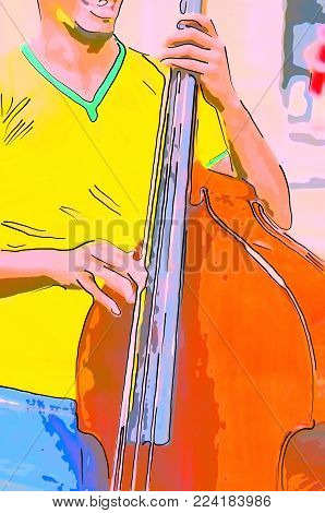 A cheerful street musician in a yellow T-shirt sings and plays a brown double bass