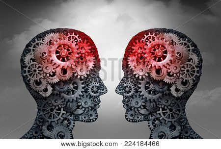Telepathy and mind reading psychology or mental connection concept as telepathic people symbols communicating through brain waves as a 3D illustration