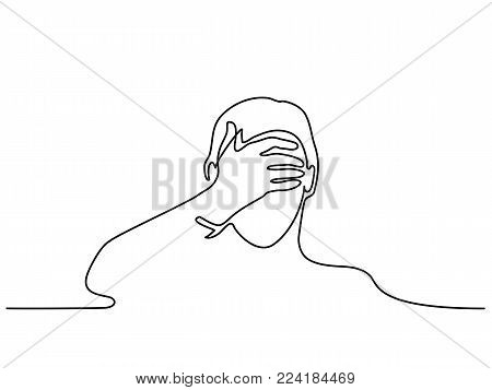 Continuous line drawing. Man covering his eyes with hand. Vector illustration