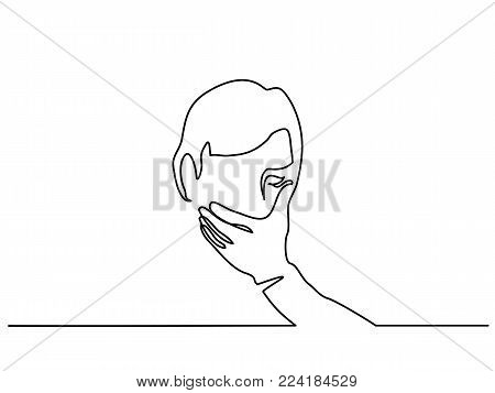 Continuous line drawing. Man covering his mouth with hand. Vector illustration