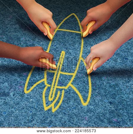 Rocket child ambition concept as a group of children drawing a spaceship with chalk in a 3D illustration style.