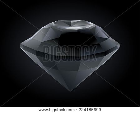 Vector stylized faceted black diamond on dark background
